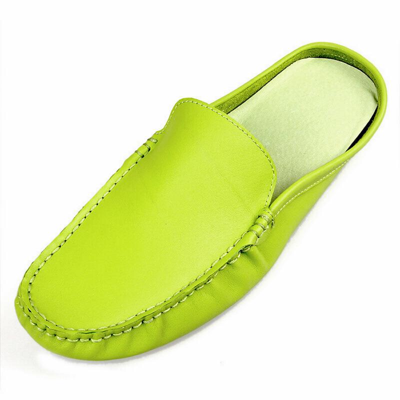 英倫透氣真皮豆豆鞋半拖鞋男士 鞋潮鞋懶人鞋男鞋子包頭鞋