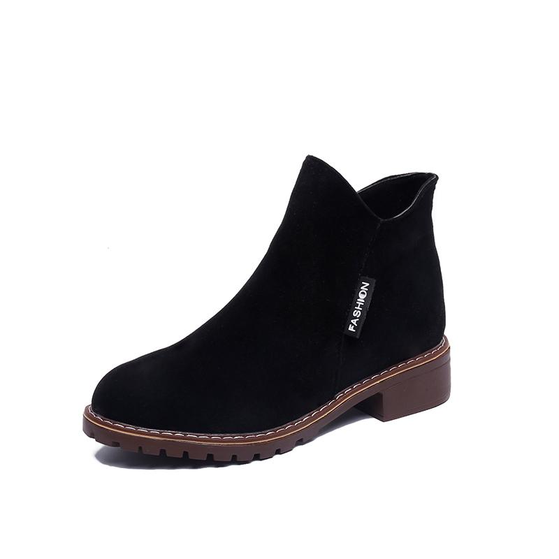 短靴2018秋套腳鬆糕鞋懶人禦姐短筒女蝴蝶結英倫靴子女馬丁靴女鞋