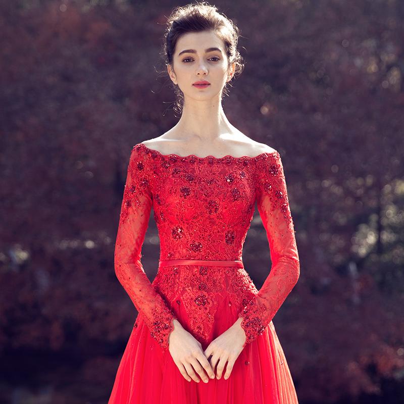 名門新娘婚紗禮服一字肩敬酒服新娘 長袖結婚婚禮紅色長款2376