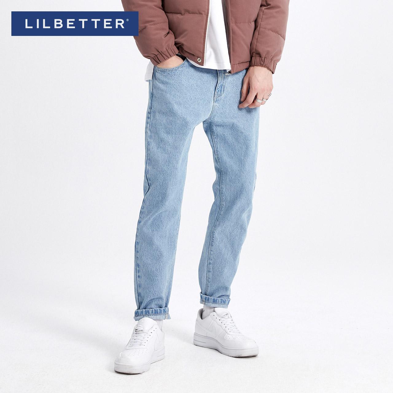 Lilbetter牛仔褲男純色水洗春裝男褲淺藍色青少年百搭牛仔 褲
