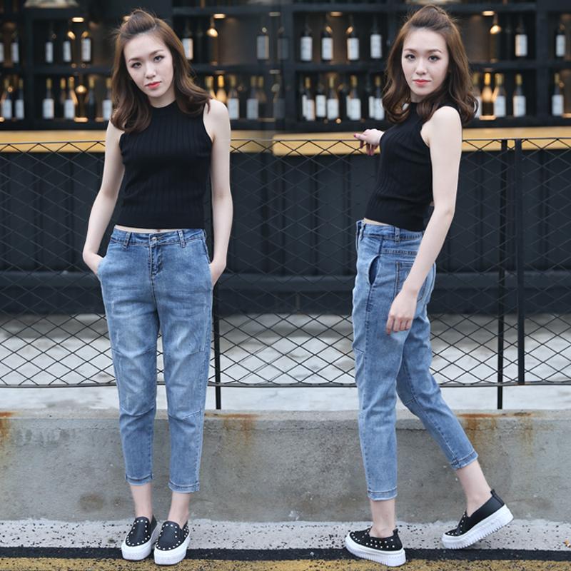 高腰直筒牛仔褲女九分褲 小腳顯瘦寬鬆大碼垮褲女 哈倫長褲子