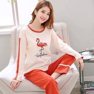 双面纯棉睡衣女秋冬季长袖套装韩版可爱学生大码家居服春秋款