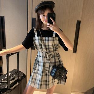 超仙的连衣裙2019新款夏流行的法国小众桔梗裙温柔假两件背带裙潮