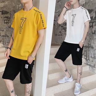 plover 两件套套装 短袖t恤男装夏新款男士短裤 韩版潮流两件套装