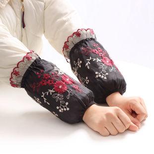 羽绒服棉衣套袖女冬季居家办公防污防脏袖套短款时尚绣花蕾丝袖头