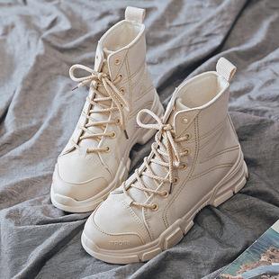 帆布马丁靴女2019秋季新款韩版街拍百搭英伦风女薄款系带沙漠短靴