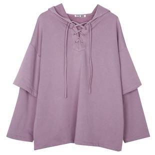 紫色假两件卫衣女连帽宽松韩版印花学生纯棉薄款绑带带帽帽衫發叁