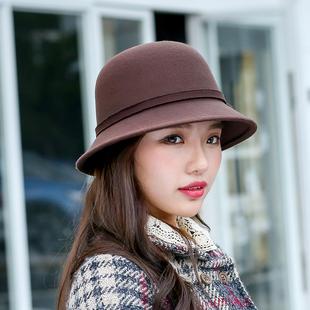 韩版秋冬季蝴蝶结圆顶礼帽女仿羊毛呢盆帽渔夫帽英伦复古毛毡帽子