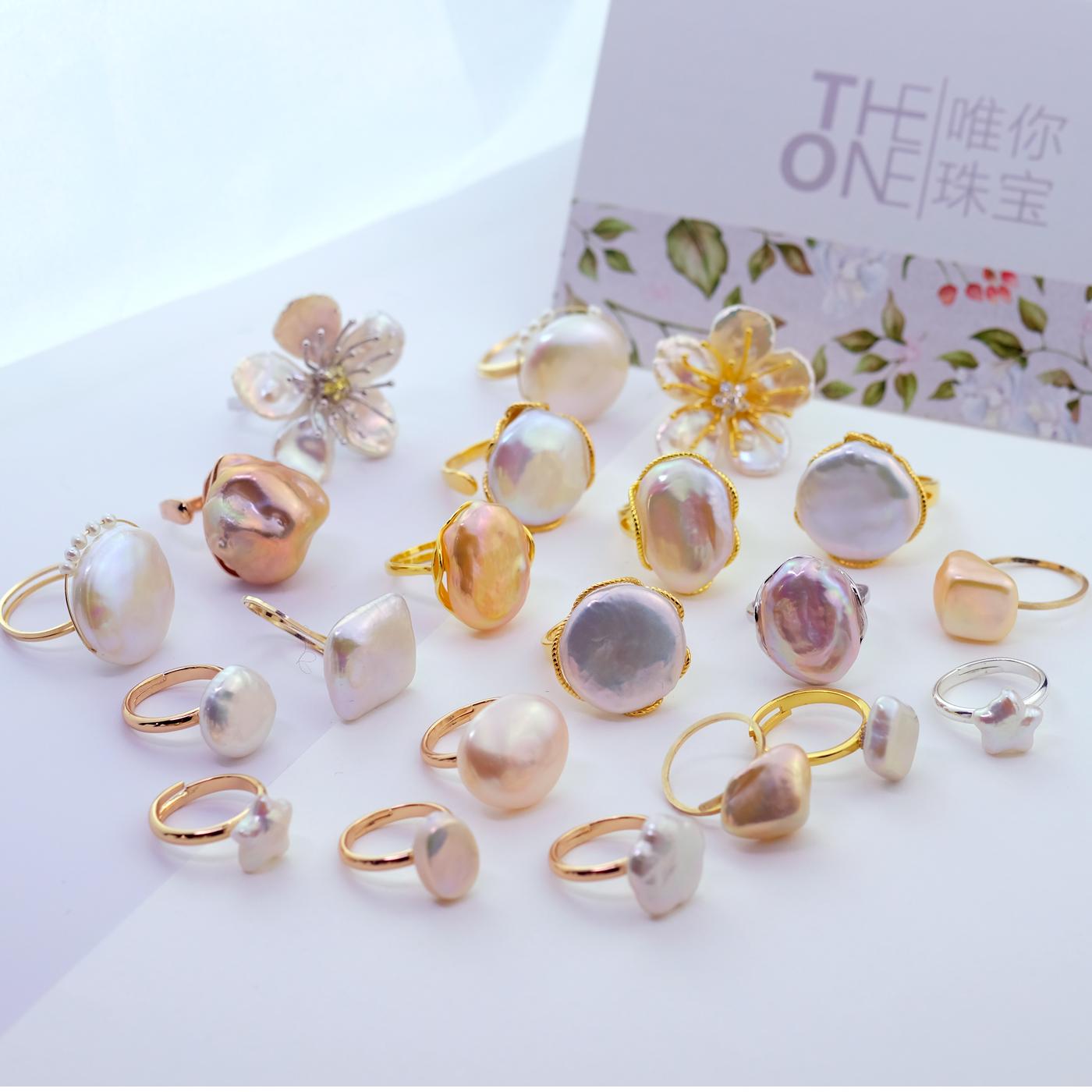 纯银镀金活口圈戒托 925 天然高亮炫彩不规则巴洛克异形珍珠戒指