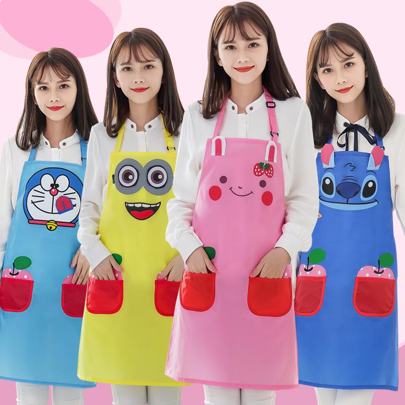 韓版時尚家用防油可愛卡通廚房圍腰游泳館工作服洗澡防水圍裙女