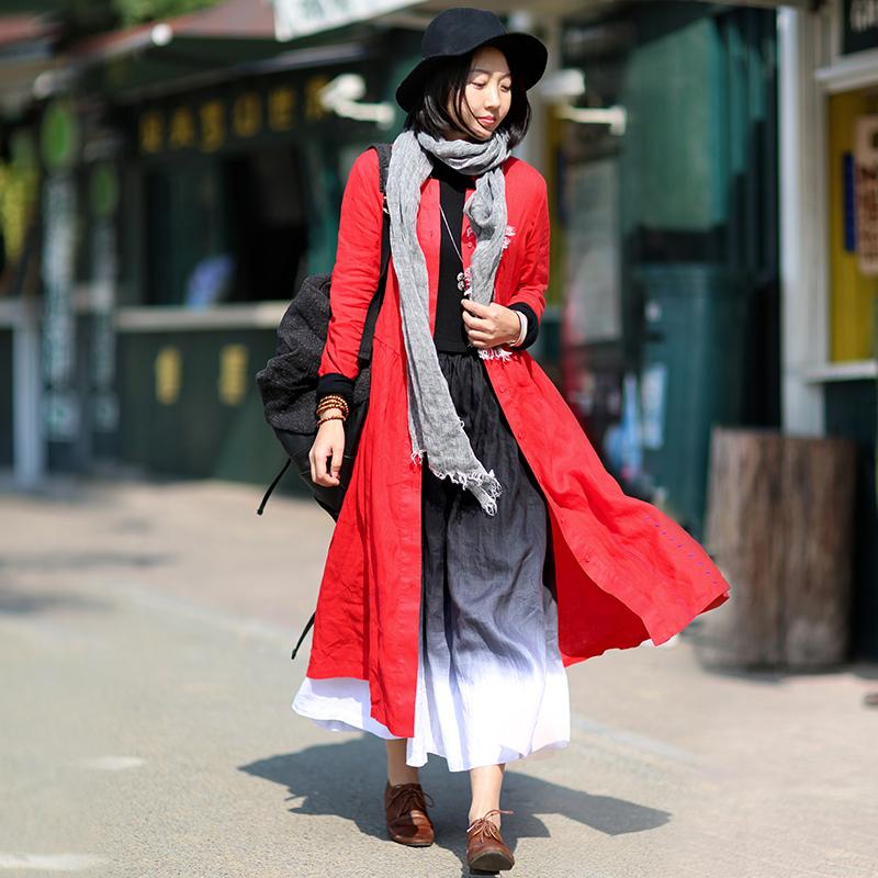 调色板原创文艺旅行珠绣亚麻红风衣中长款外套女春秋 座 1125 忘城