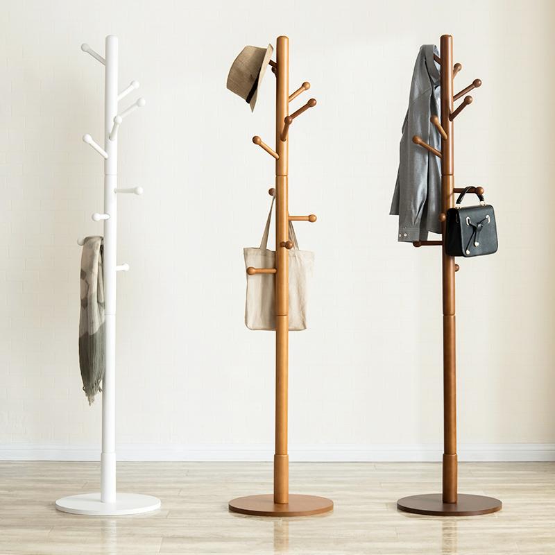 越茂 实木衣帽架落地衣架卧室衣服架子家用简易单杆式房间挂衣架