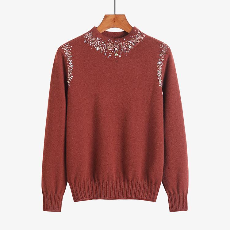100纯山羊绒衫女品牌高档半高领套头镶钻毛衣打底针织衫主图