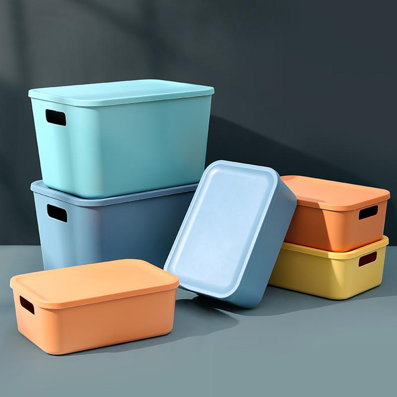 桌面收纳盒北欧带盖收纳箱家用大号收纳筐橱柜化妆品杂物整理盒子