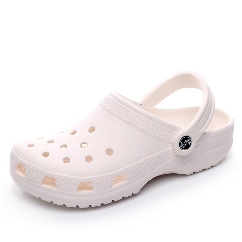 新款夏季洞洞鞋女凉拖鞋白色护士鞋40大码孕妇沙滩凉鞋41-42-43码