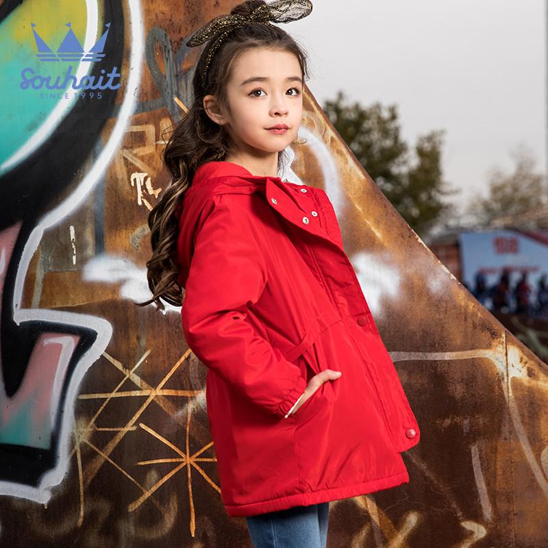 水孩儿女童洋气外套风衣春秋2018新款儿童风衣加绒外套女韩版潮