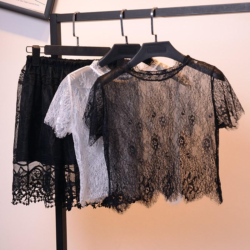薄紗透視性感罩衫紗衣鏤空內搭蕾絲短袖女春夏配吊帶裙網紗上衣