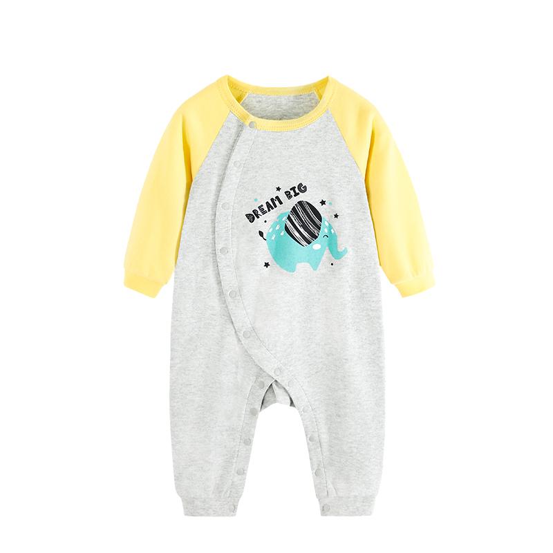 婴儿连体衣服春秋装纯棉哈衣长袖爬服男宝宝女全棉薄款新生儿春装