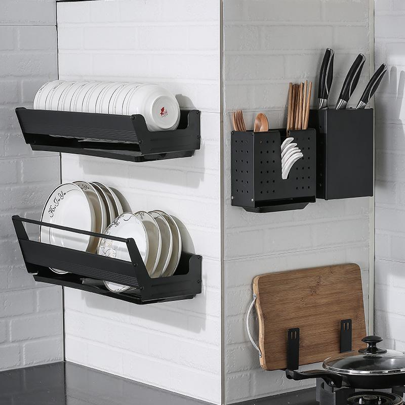 創意黑色廚房置物架壁掛式鍋蓋架家用收納神器刃架筷子架免打孔式