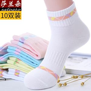 白色女袜子纯棉中筒袜吸汗透气薄春季春秋夏季跑步全棉祙运动防臭