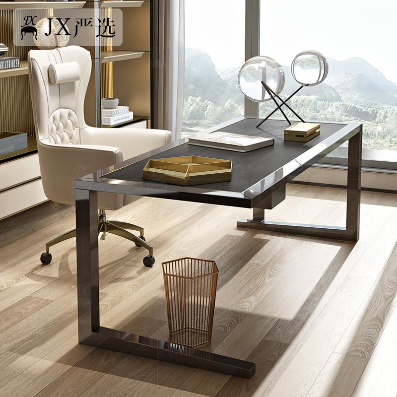 意式后现代不锈钢简约书房北欧轻奢实木书桌办公桌极简家具组合