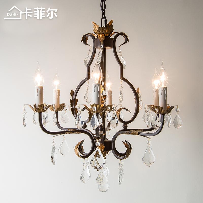 锈色做旧美式水晶吊灯