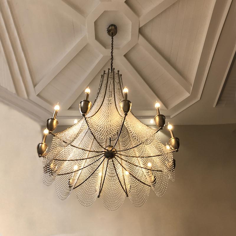 式别墅楼梯旋转长灯具