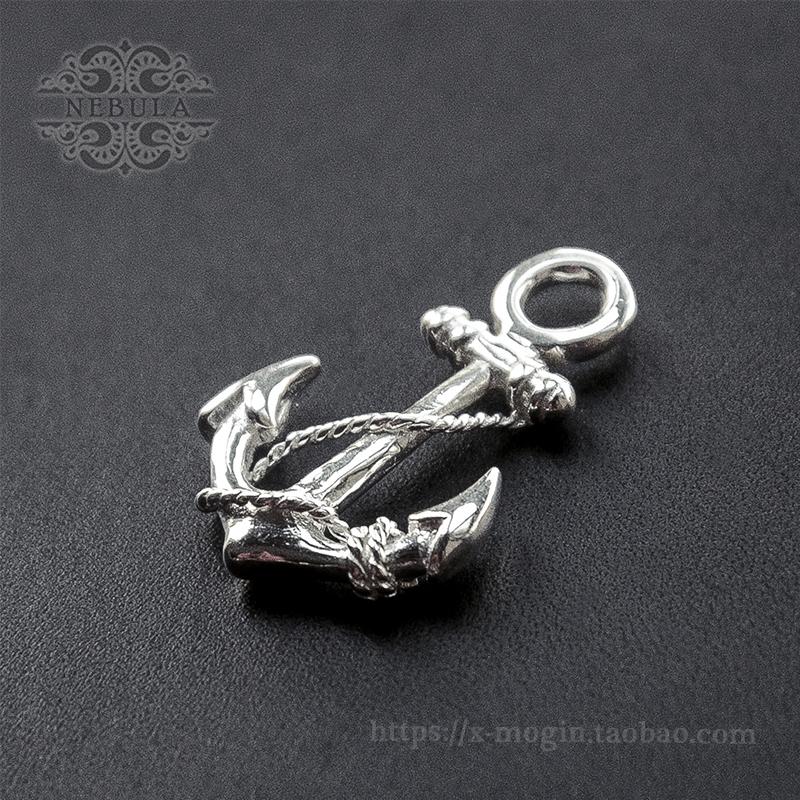 创意礼物复古纯铜黄铜麻绳绕船锚海军锚钥匙挂件项链吊坠五金配件