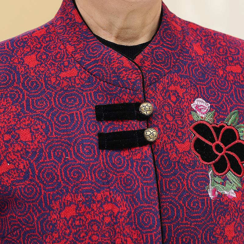 70  老太太衣服套装 80 老年人秋装女外套 60 岁奶奶春秋唐装妈妈长袖