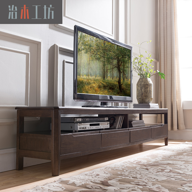 治木工坊 纯实木电视柜1.8米2米 北欧简约日式简美电视柜客厅地柜