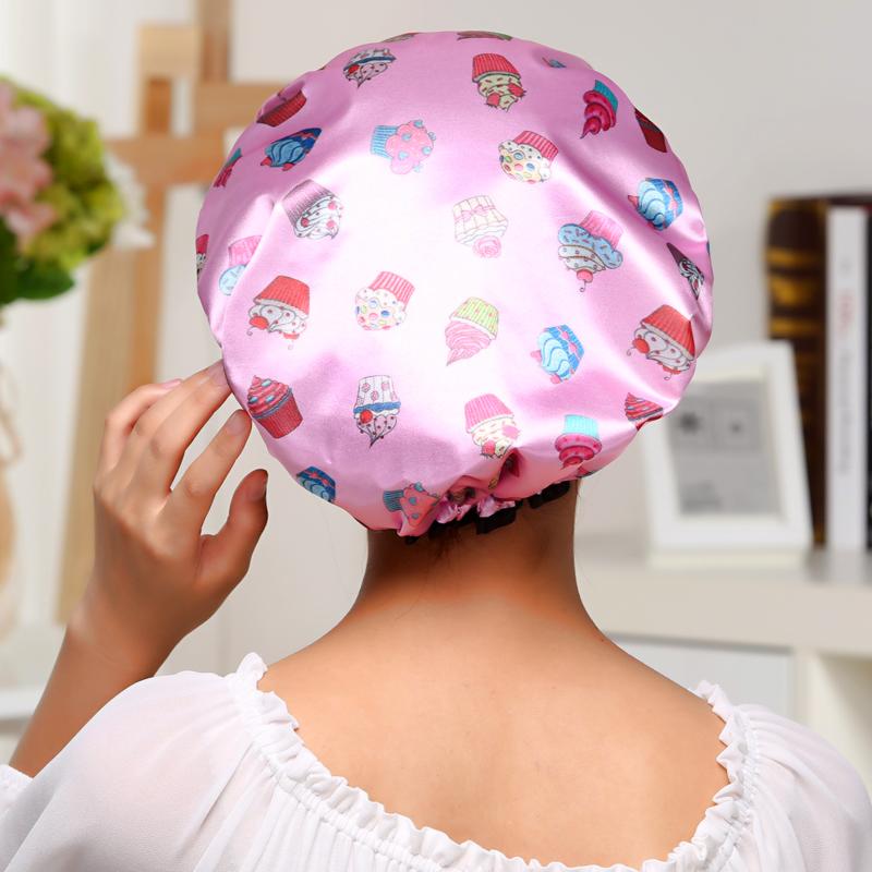 双层加厚防水浴帽厨房做饭炒菜防油头套沐浴洗澡的帽子可爱浴帽女