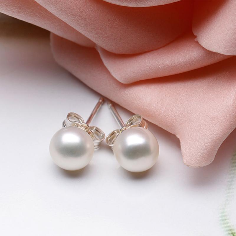 送女友送礼 时尚简约气质耳饰耳环 银淡水珍珠耳钉女 925 海润珍珠