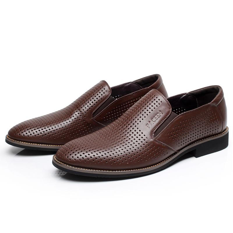 夏季男士镂空真皮凉鞋透气打孔商务皮鞋套脚正装男鞋英伦鞋子