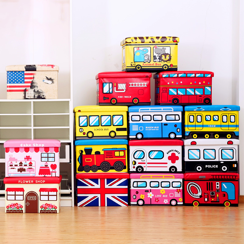 可坐長方形汽車收納凳摺疊收納箱公交車儲物換鞋凳卡通兒童玩具箱