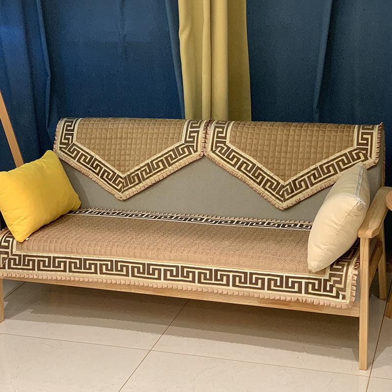 四季通用雪尼爾沙發墊墊子布藝皮套巾罩防滑中式實木紅木咖啡純色