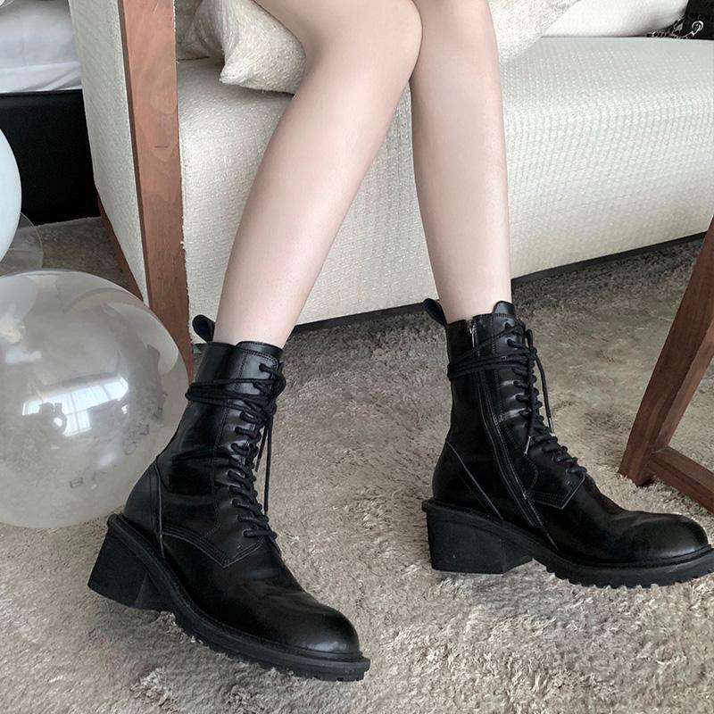 年新款百搭鞋子 2020 酷英伦风 ins 早安樊樊网红同款高帮马丁靴女潮