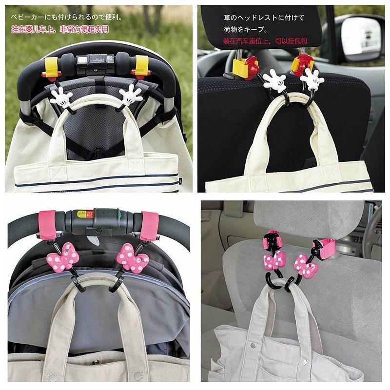 日本NAPOLEX迪斯尼米奇米妮婴儿手推车挂钩360旋转挂包挂袋配件