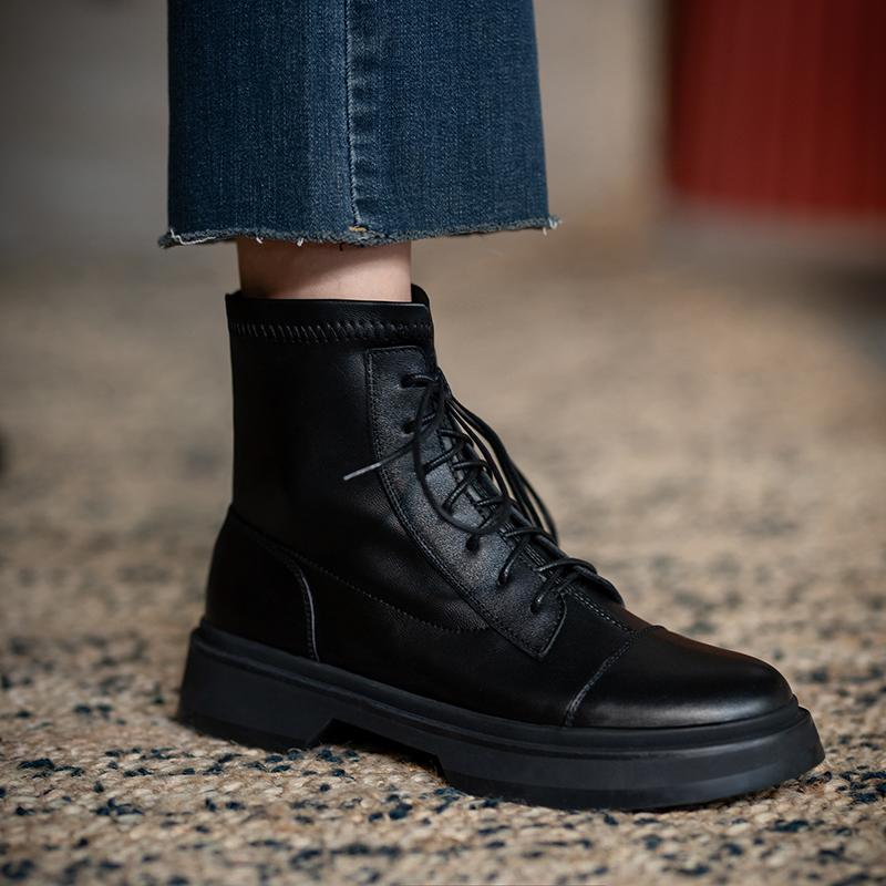 2020春秋新款真皮复古薄款短靴女英伦风厚底粗跟马丁靴ins潮单靴 - 图1