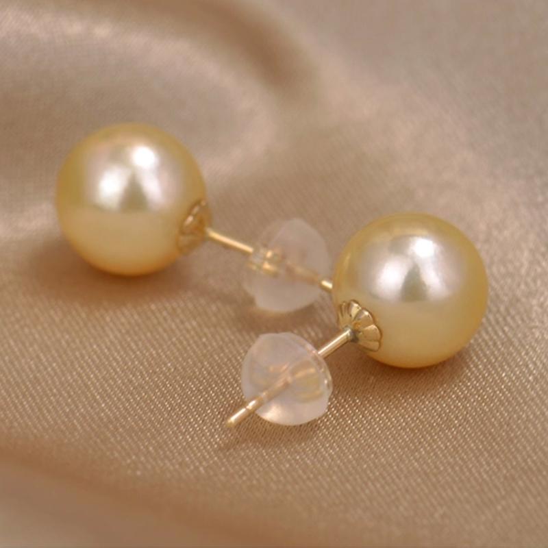 淡水母贝珍珠耳钉优质金色珍珠耳环耳钩韩版时尚简约款92