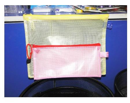 办公学习 办公用品 A4网格拉链袋 文件袋透明网袋 手提式收纳袋