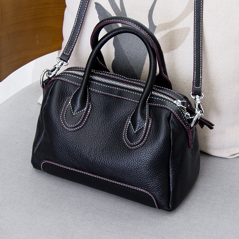 新款潮韩版真皮波士顿包女时尚简约手提包 2018 软皮小包包女斜挎包