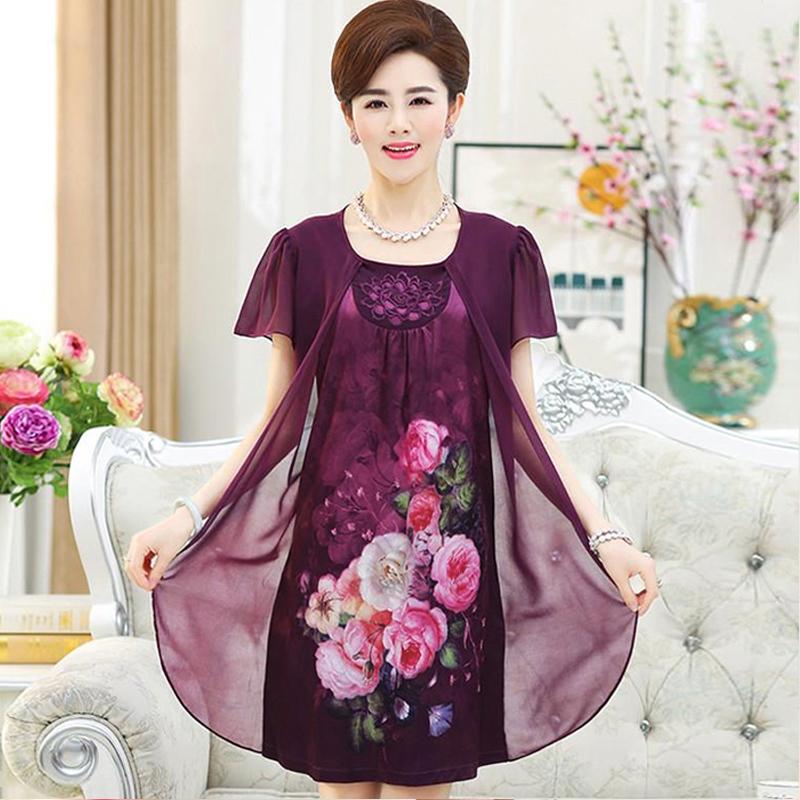 中老年人女装夏装假两件40-50岁裙子妈妈装春夏中长款雪纺连衣裙
