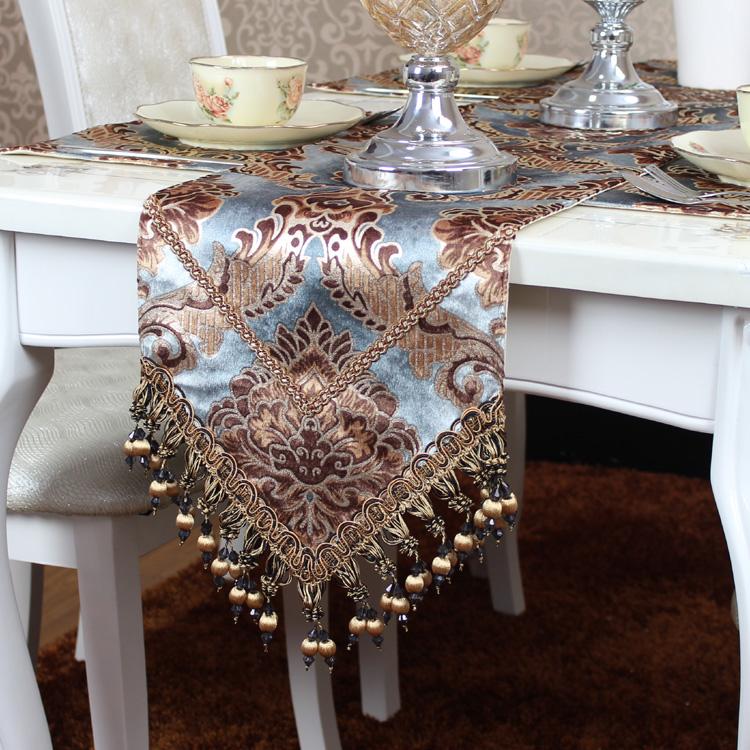 桌旗現代簡約美式北歐新中式禪意復古餐桌布藝圓桌茶几電視櫃長條