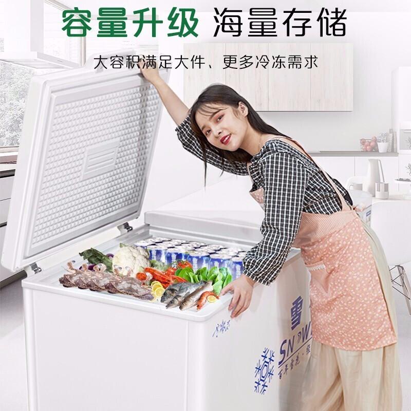 雪花单温双温商用冰柜卧式冰箱冷藏冷冻节能大容量雪糕展示柜