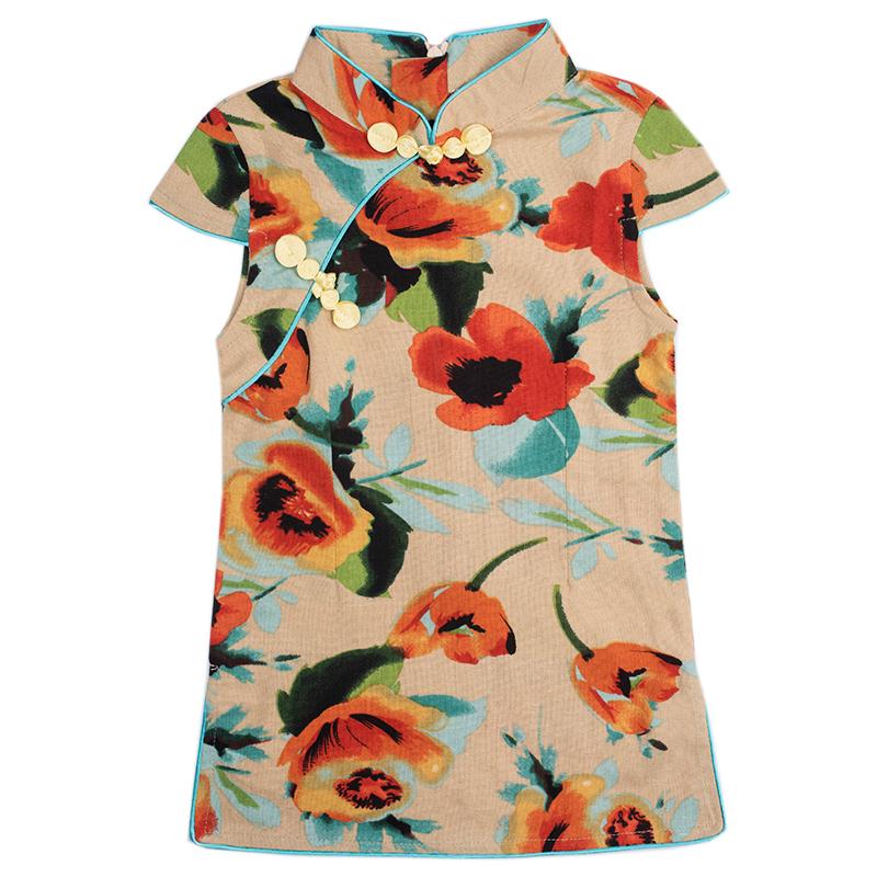 夏秋季新款小旗袍儿童洋气中国风女童复古长袖薄款古装宝宝公主裙