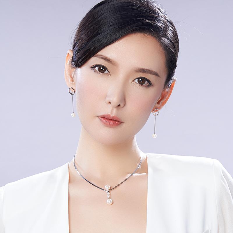 清雅 女 圆形 8mm 7 银镶白色淡水珍珠耳钉耳环 S925 京润月韵