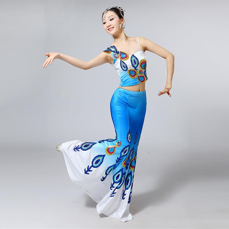 新款傣族舞蹈服装演出服少数民族成人修身长裙孔雀舞表演服女民族