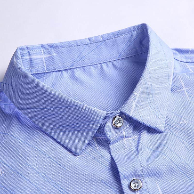 南极人青年男士夏季印花免烫衬衣袖衬衫男韩版休闲修身衬衣