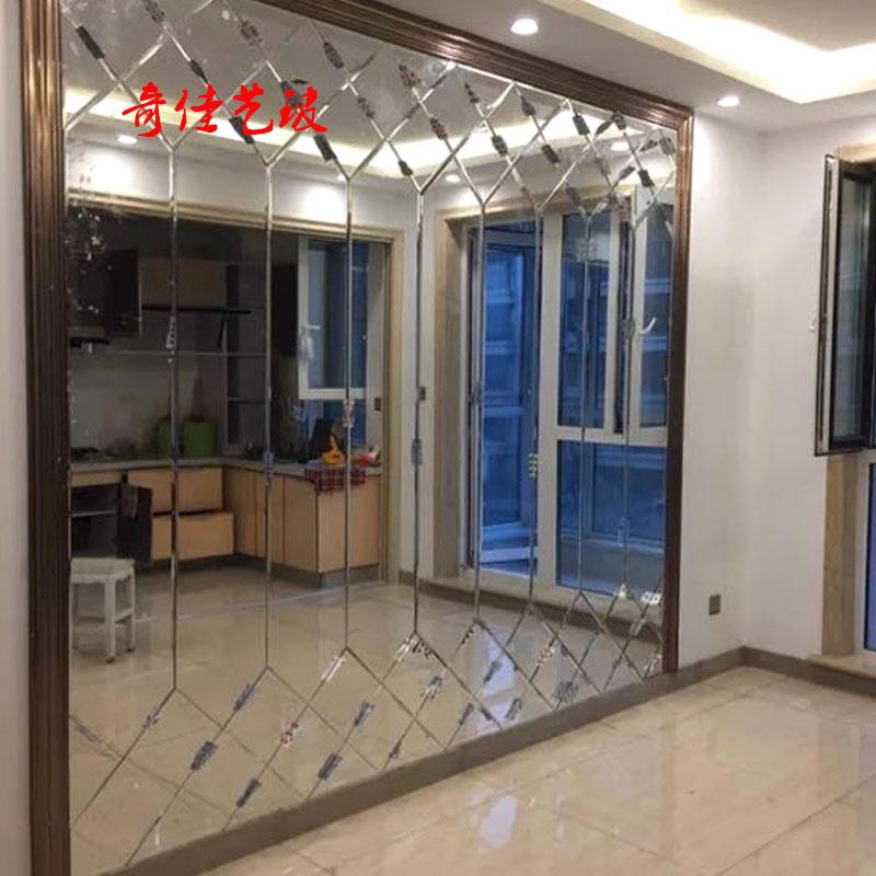 现代艺术玻璃客厅餐厅电视背景墙银茶灰黑镜菱形长条车边镜子拼镜