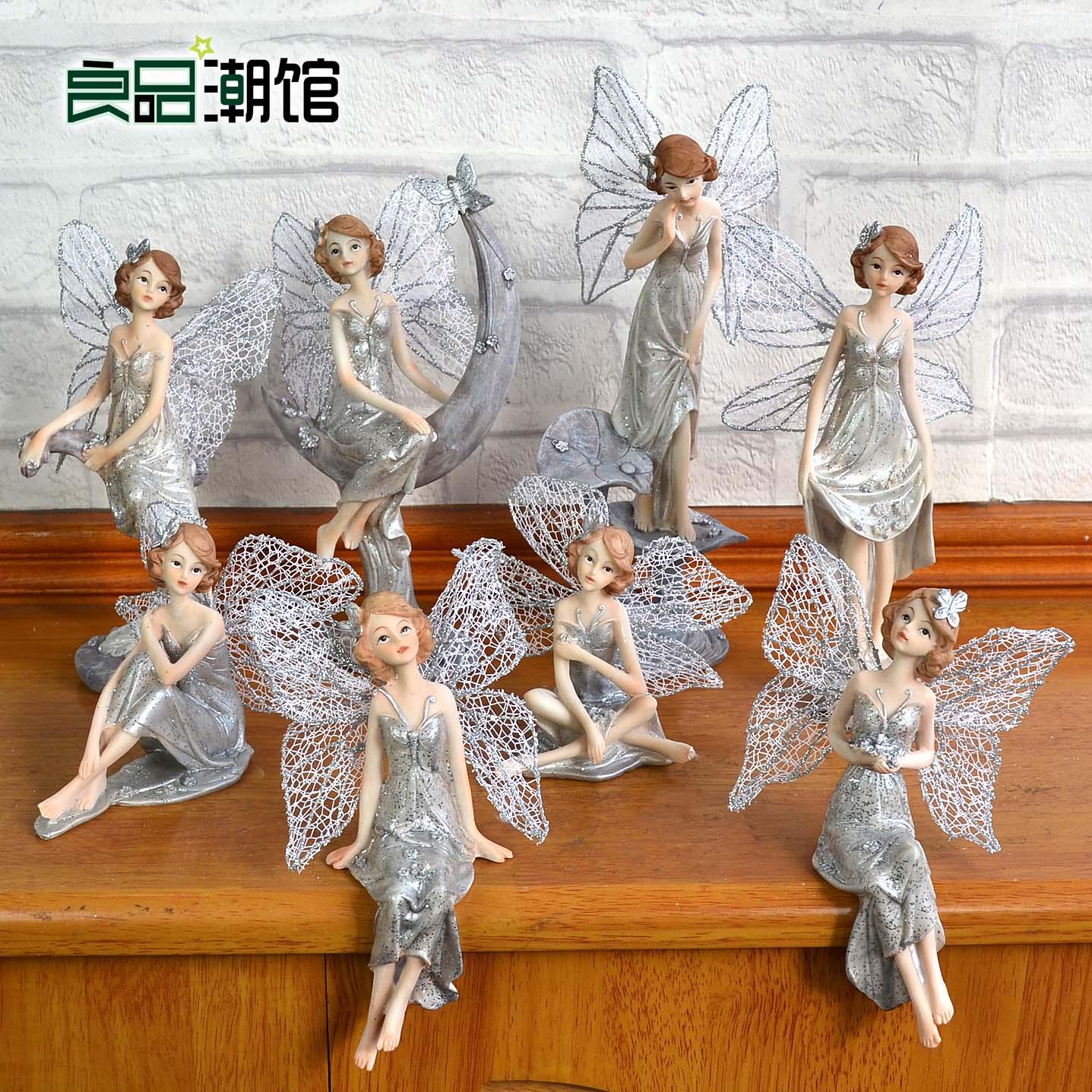 ins樹脂花仙子女精靈吊腳娃娃兒童房置物架家居軟裝飾品擺件禮物